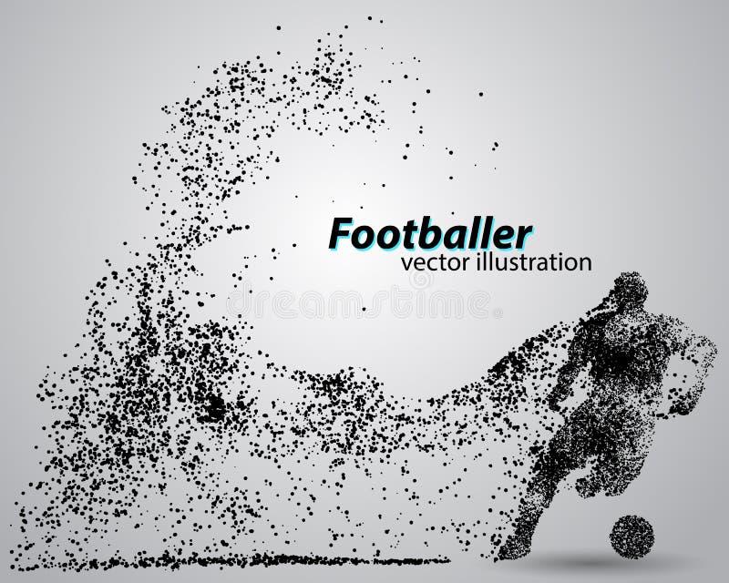 一位足球运动员的剪影从微粒的 库存例证