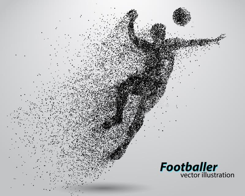 一位足球运动员的剪影从微粒的 向量例证