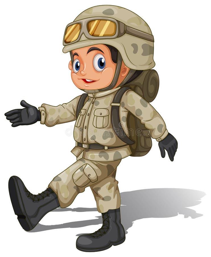 一位年轻微笑的战士 皇族释放例证