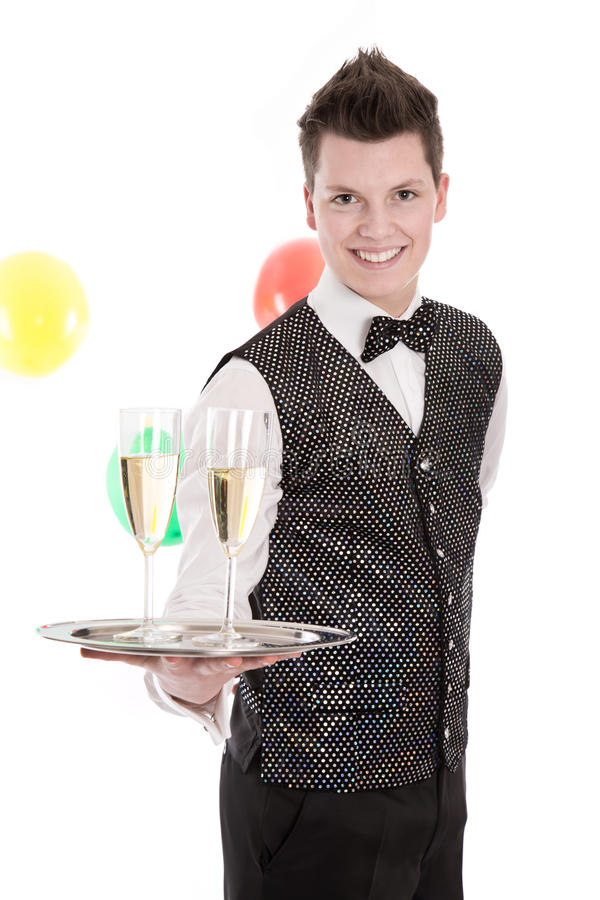 一位年轻男管家或仆人的画象戴香槟眼镜  免版税库存图片