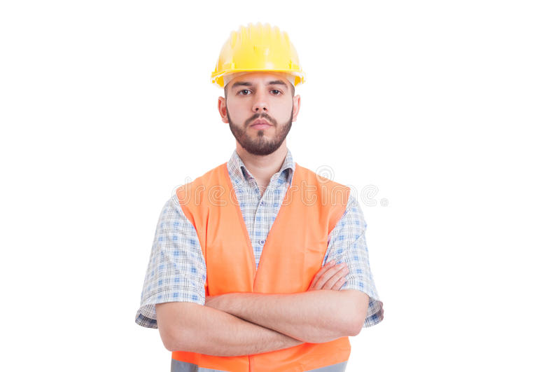 一位年轻,确信和成功的工程师的画象 免版税库存照片