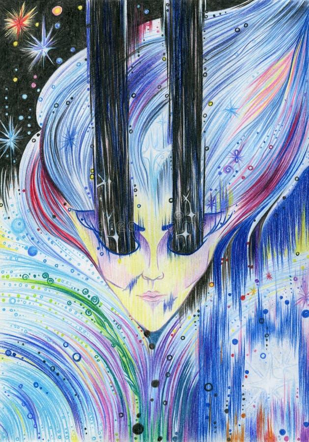 一位mistic神仙的女巫的画象 画与色的penci 向量例证