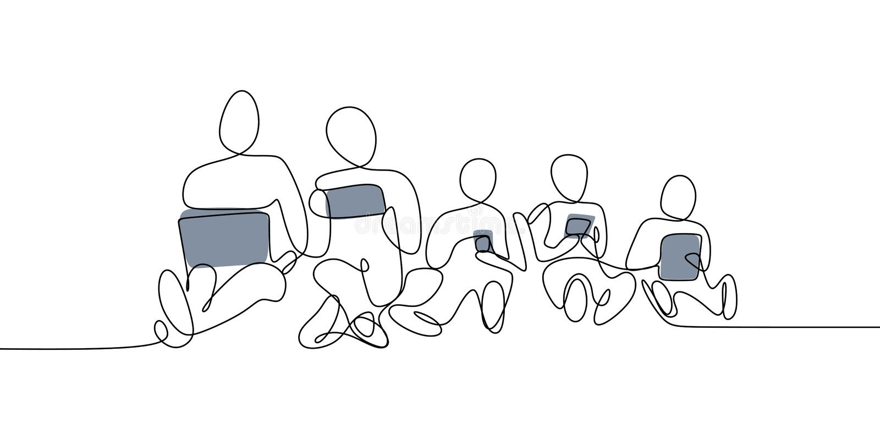 一使用智能手机,膝上型计算机和片剂现代概念未来派千福年的人线描  库存例证
