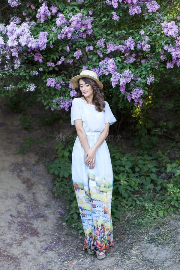 一俏丽的少女,一件蓝色长的葡萄酒礼服的一美女在一个淡紫色庭院里站立 夏天,幸福,春天,温暖 免版税库存图片