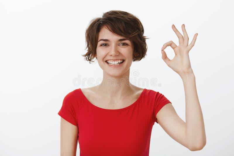 一切好去的计划 快乐的断言的确信的年轻无忧无虑的妇女展示ok认同好姿态微笑 免版税库存图片