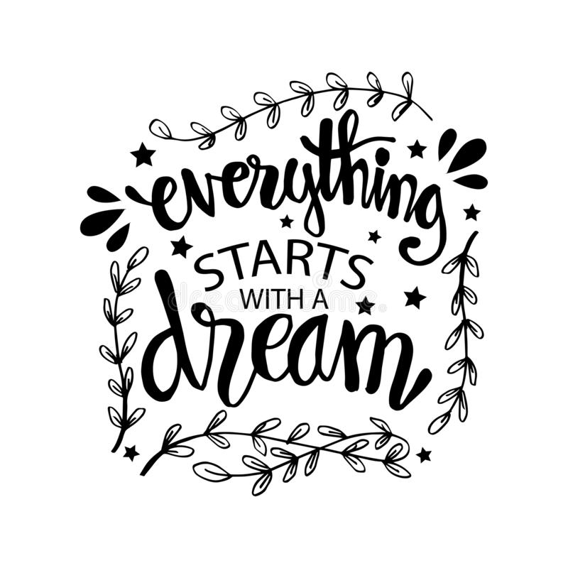 一切开始以梦想 库存例证