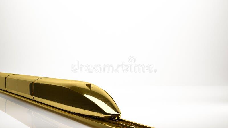 一列快车的金黄3d翻译在演播室里面的 库存例证