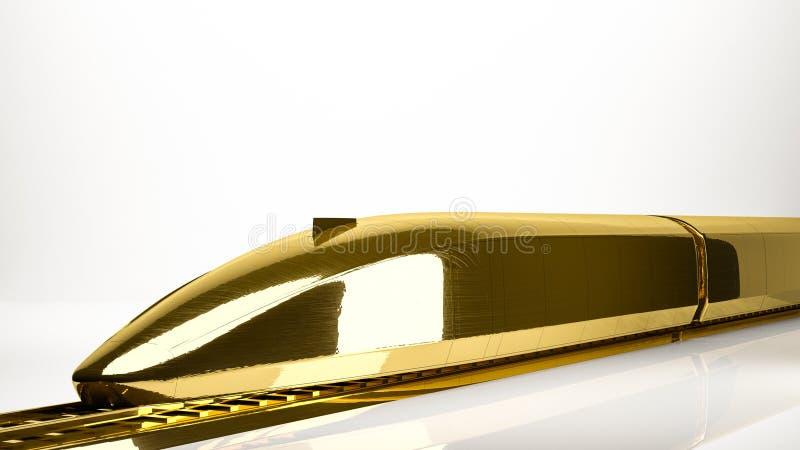 一列快车的金黄3d翻译在演播室里面的 皇族释放例证