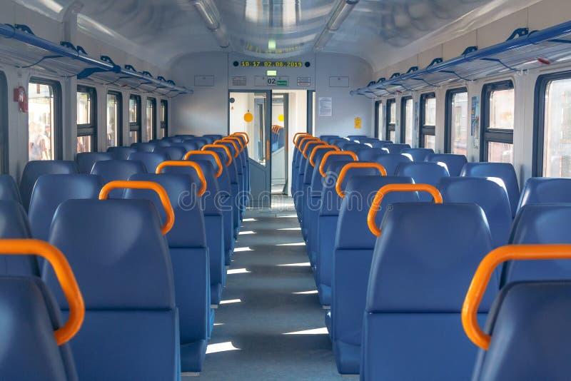 一列现代火车电多单元EP3D的沙龙 它服务2018年世界杯足球赛的访客俄罗斯然后 库存照片