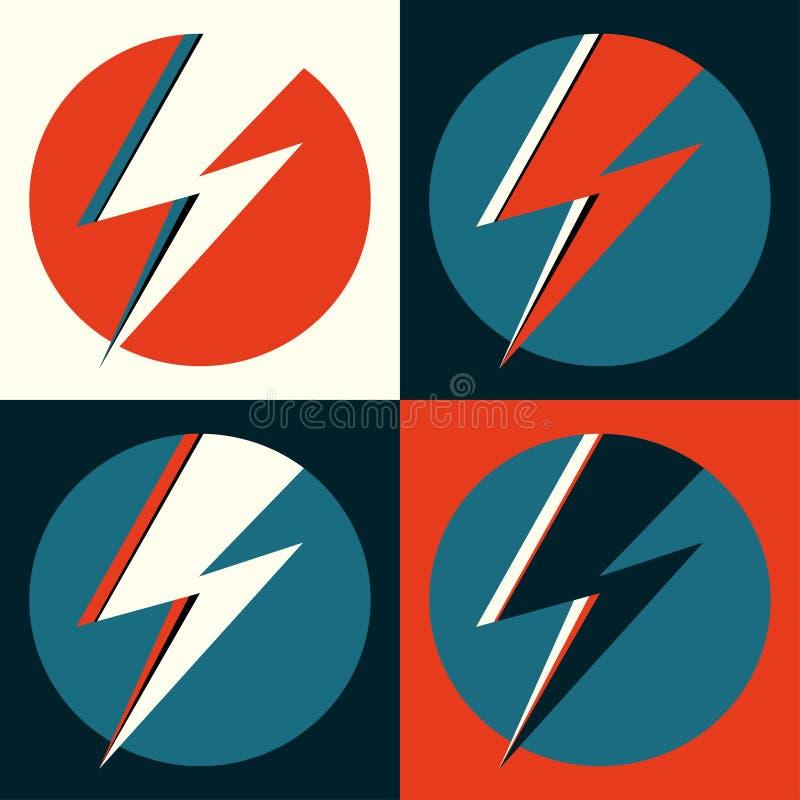 一刹那传染媒介 闪电流行艺术例证 在圈子商标的,海报,明信片,衣物印刷品,飞行物的平的闪光 减速火箭的标志 库存例证