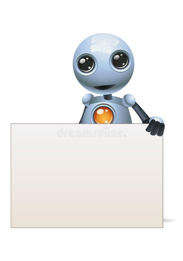 一副愉快的小的机器人商人举行横幅的例证 皇族释放例证