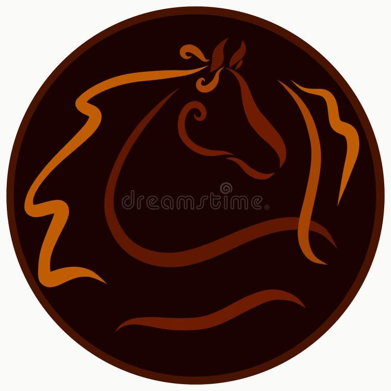 一匹美丽的马的创造性的图象在圆的背景的 向量例证
