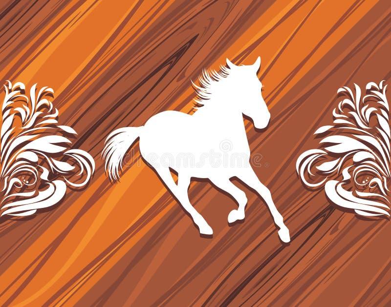一匹赶紧的马的剪影在木backg的 皇族释放例证