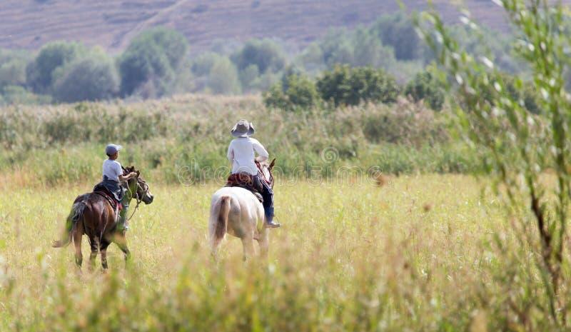 一匹马的两个男孩在自然 免版税库存照片