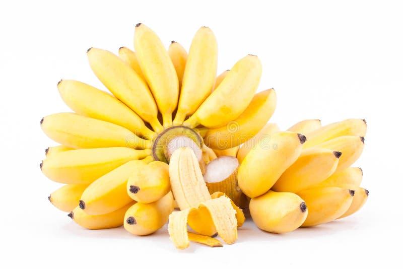 一半剥了金黄香蕉的香蕉和两手在白色被隔绝的背景健康Pisang Mas香蕉果子食物的 库存图片