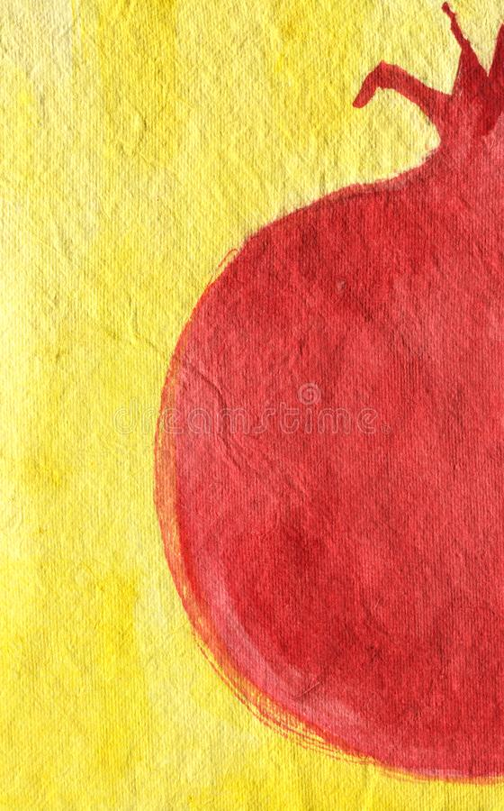 一半在黄色背景,手拉的水彩例证的石榴 皇族释放例证