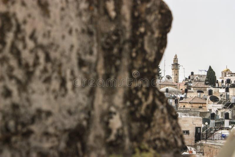 一半市的暗藏的看法伯利恒在被占领的巴勒斯坦领土 库存图片