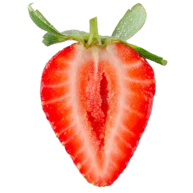 一半草莓我 免版税库存照片