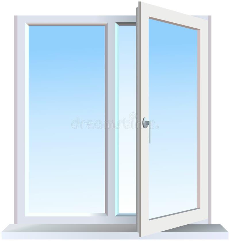 一半被打开的窗口有蓝色背景 向量例证
