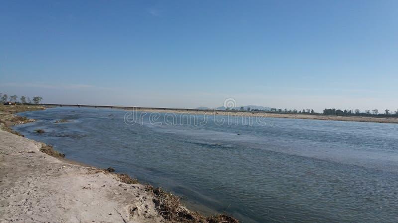 一印度` s最大的强大河雅鲁藏布江最大的河  库存图片