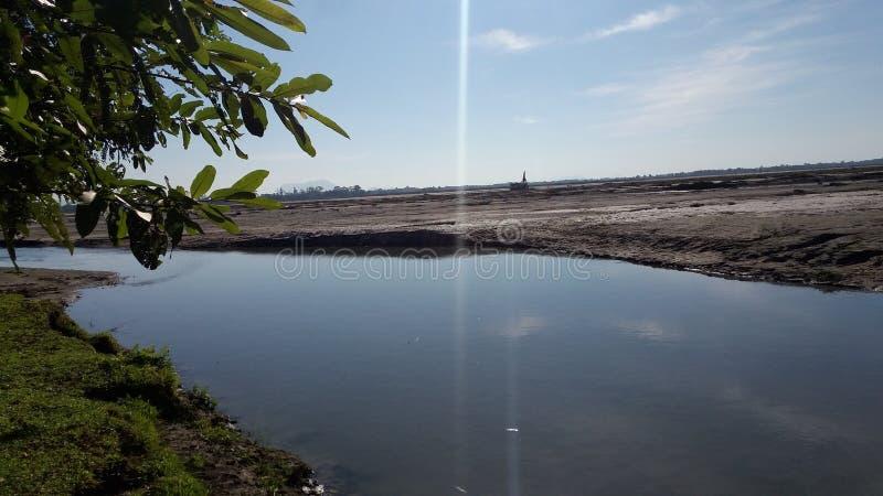 一印度` s最大的强大河雅鲁藏布江最大的河  免版税库存图片