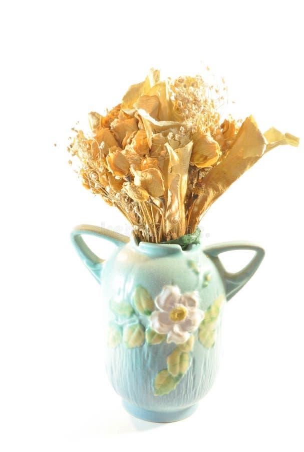 一古色古香的花瓶和干婚姻的海报开花花束 免版税库存图片