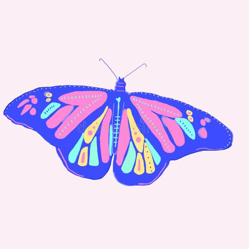 一只五颜六色的蝴蝶的美丽的图画在浅粉红色的背景的 免版税库存照片