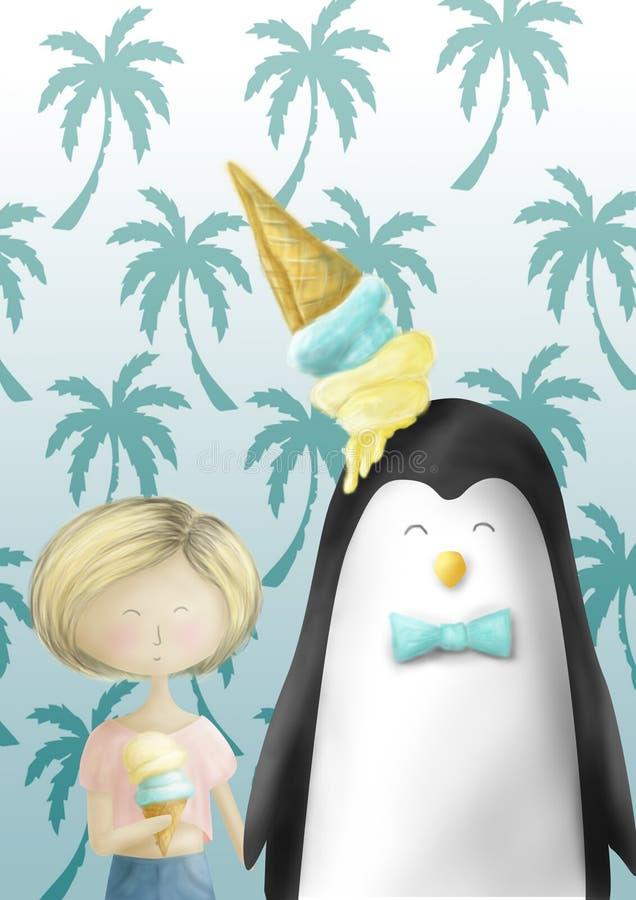 一只企鹅和一个女孩有冰淇凌的 向量例证