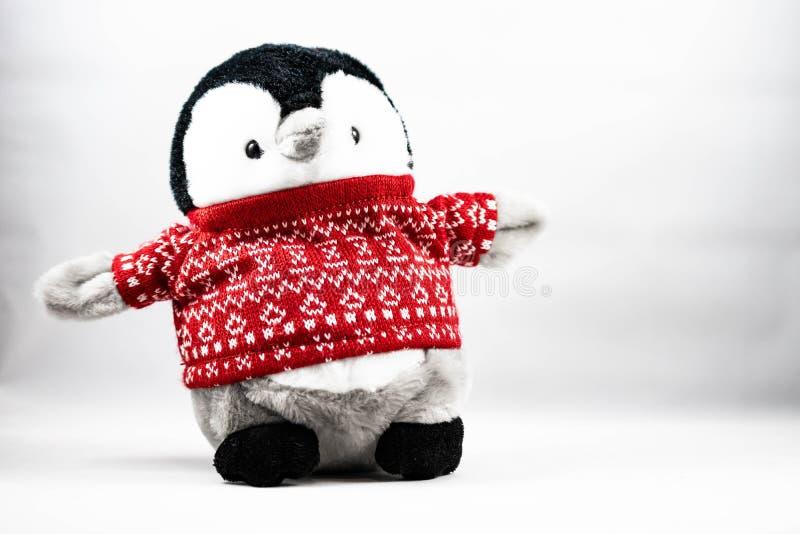 一只企鹅的图象在白色背景的 免版税库存照片
