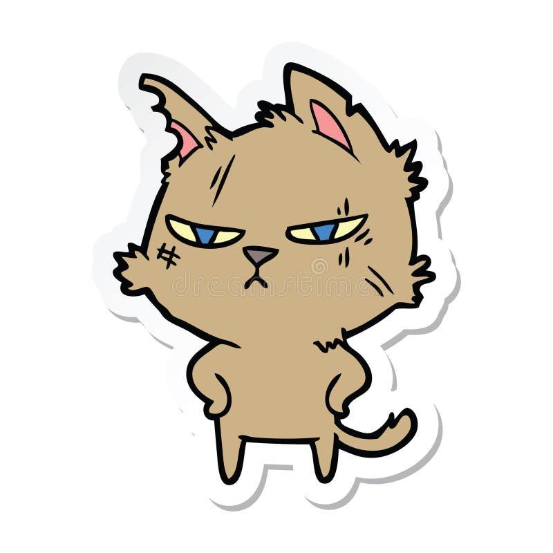 一只坚韧动画片猫的贴纸 库存例证