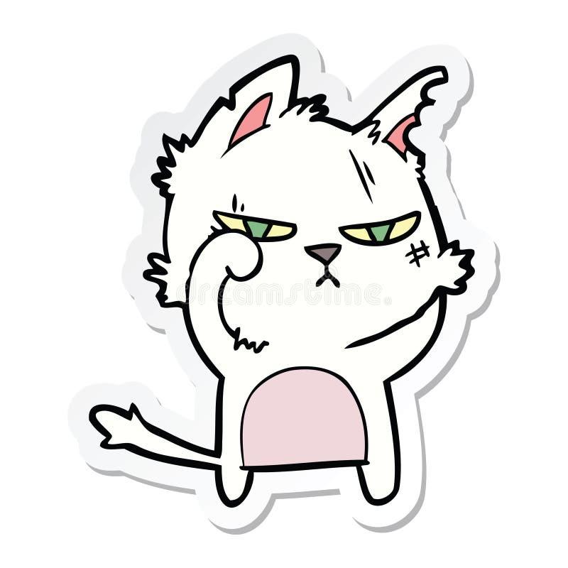 一只坚韧动画片猫的贴纸 皇族释放例证