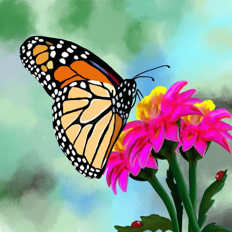 一只多彩多姿的蝴蝶坐花 库存例证