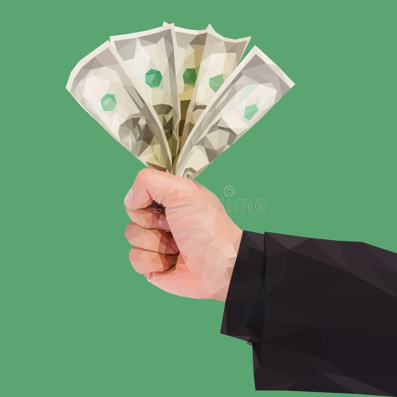 一只多角形手拿着在绿色的金钱 向量例证