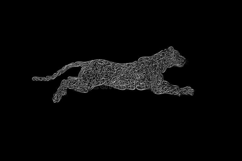 一只大银色猫,壮观的跃迁从容量卷毛的 向量例证