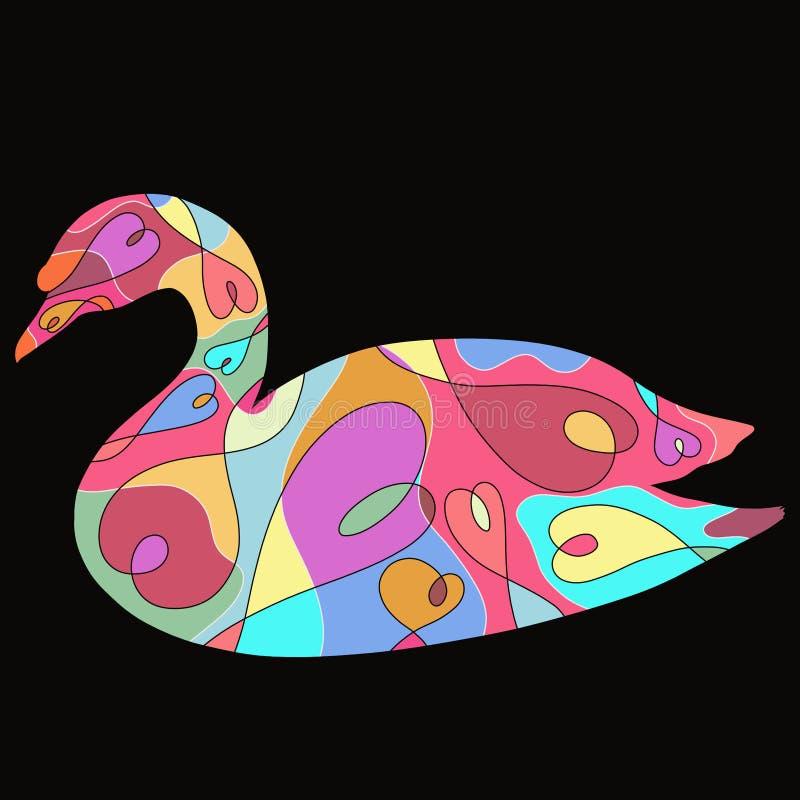 一只天鹅的五颜六色的剪影与一个浪漫样式的在黑色 库存例证