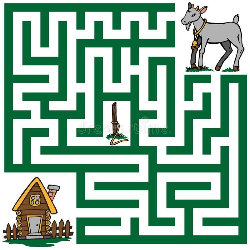 一只失去的山羊的迷宫 库存例证