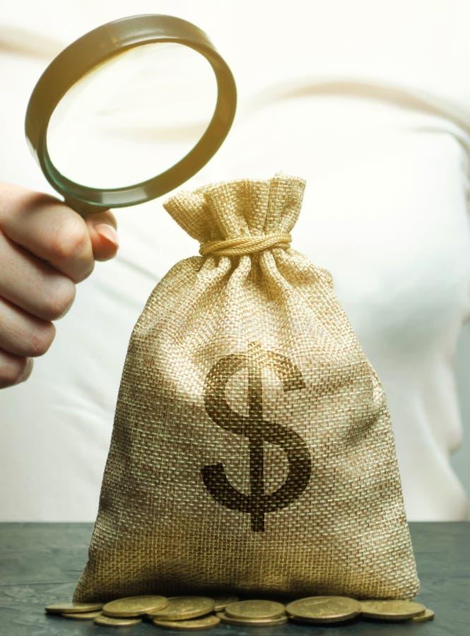 一只女性手拿着在金钱袋子的一个放大镜与硬币 对赢利和收入的概念分析 预算计划 免版税库存图片