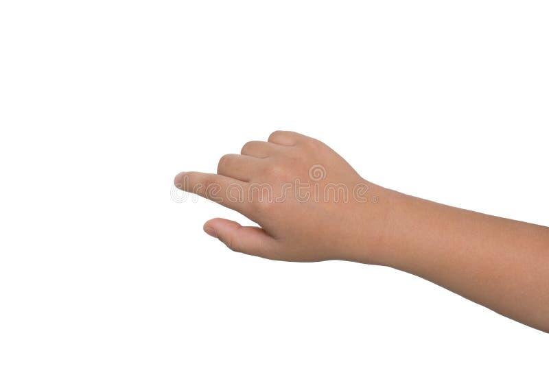 一只小男孩的手接触触摸屏 库存图片
