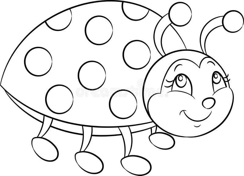 一只小的瓢虫的黑白,等高kawaii图画儿童的彩图的或上色比赛 向量例证