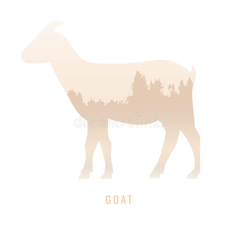 一只山羊的剪影在杉木森林里面的,明亮的颜色/anim 向量例证