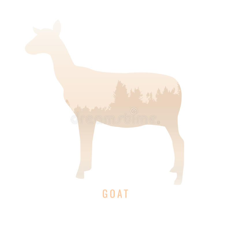 一只山羊的剪影在杉木森林里面的,明亮的颜色/anim 库存例证