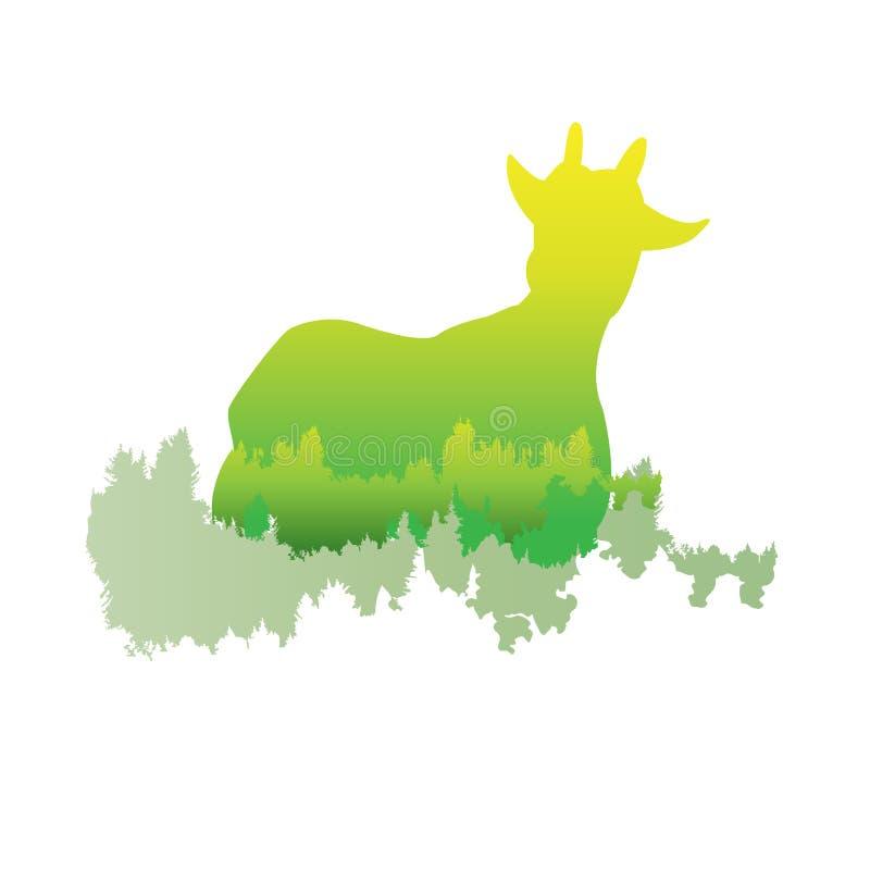 一只山羊的剪影在杉木森林里面的,明亮的颜色/anim 皇族释放例证