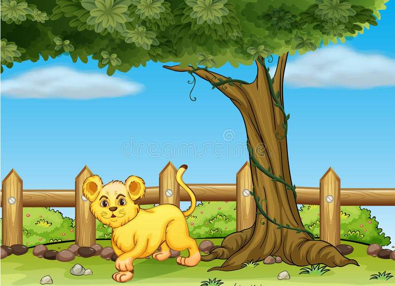 一只幼小老虎在一棵大树下 皇族释放例证