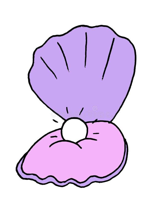 一只开放牡蛎的简单的例证与珍珠里面的 皇族释放例证