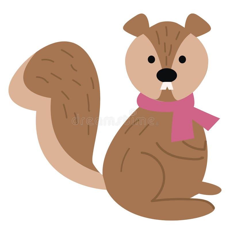 一只戴着玫瑰色围巾的可爱卡通松鼠的颈部矢量图或彩色插图 库存例证