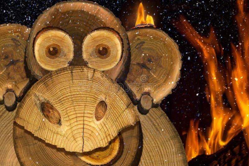 一只新年火猴子的画象 免版税库存照片