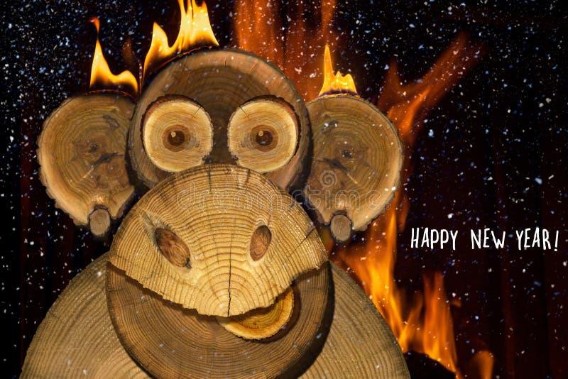 一只新年火猴子的画象 免版税图库摄影