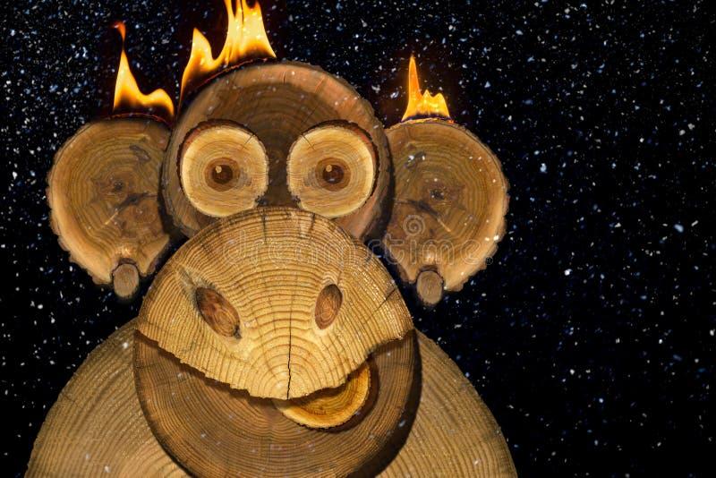 一只新年火猴子的画象 库存照片