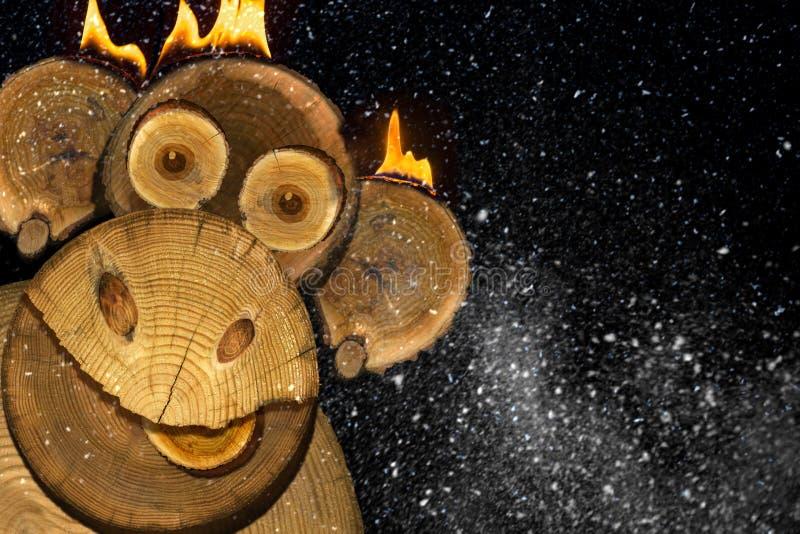 一只新年火猴子的画象 库存图片