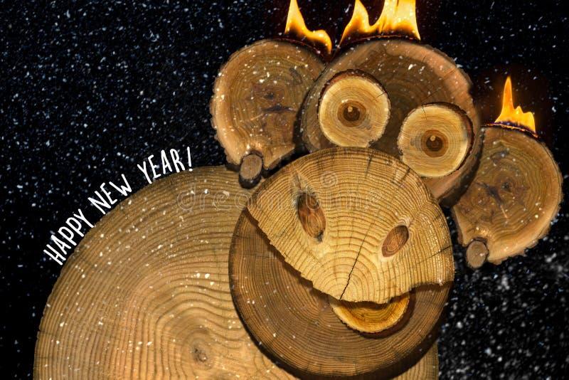 一只新年火猴子的画象 免版税库存图片